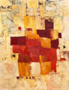 """Abstract Orange Squares on Yellow """"Spain"""" Stencilled Letters Mod Oil Painting"""