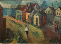 "WPA Period ""Coastal Village"" American Modernist Realism Oil Painting"