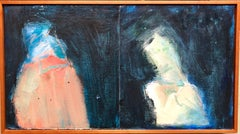 """""""Two for Francis"""" Mixed Media Figural Abstract Oil Painting"""