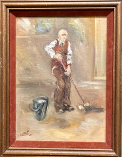 Israeli Oil Painting Modernist Impressionist Janitor Mopping Floor