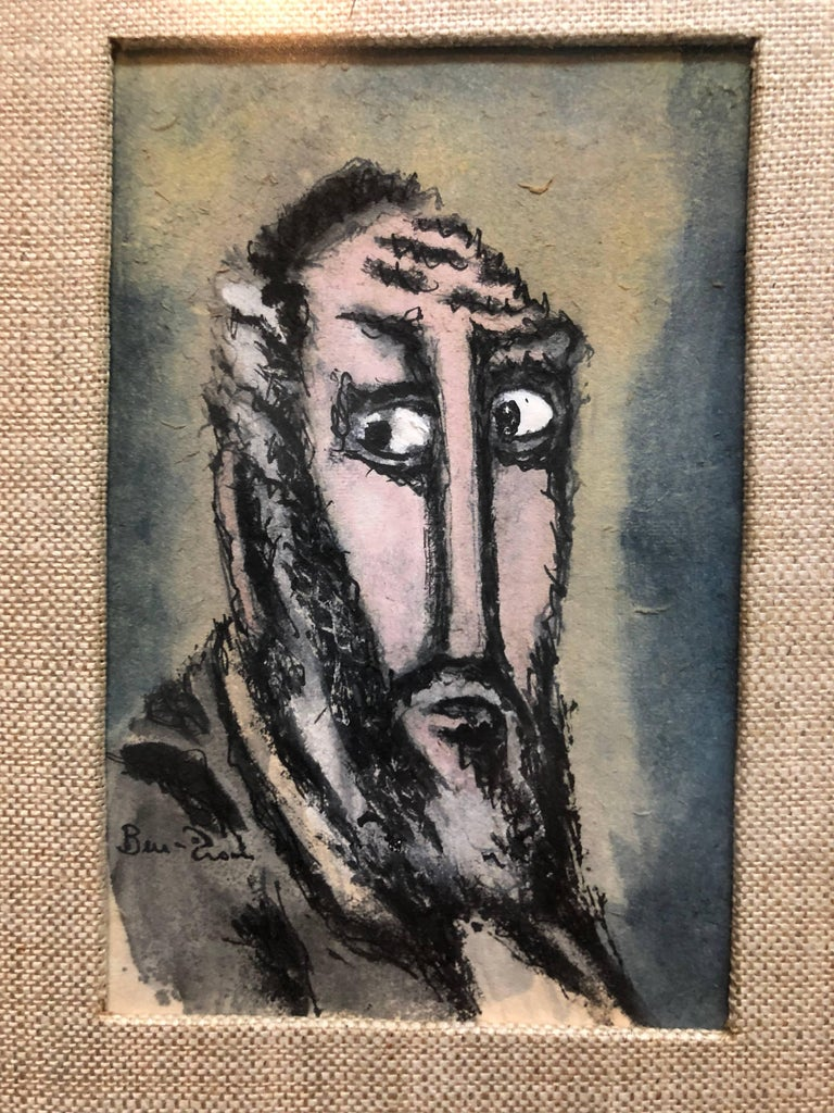 "Modernist Judaica Watercolor Gouache Painting ""Old Jew"" Jewish Rabbi"