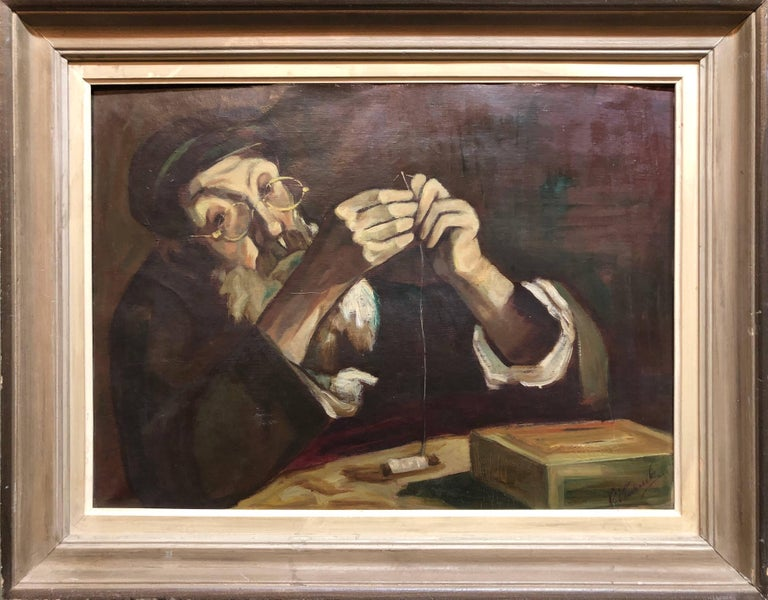 Polish Judaica Portrait of Hasidic Rabbi Shtetl Tailor Oil Painting