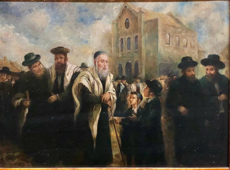 Realistic portrait of an older rabbi visiting and blessing a child in a European marketplace. Here the artist conveys a sense of quiet grandeur through the eyes of his subject and the way it's rendered. following a distinguished European lineage of