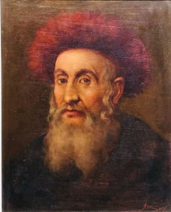 "Judaica ""The Rebbe'"" European Hasidic Rabbi Oil Painting"