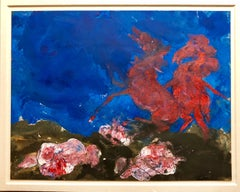 """American Neo Expressionist """"Wild Horses"""" Modernist Oil Painting"""