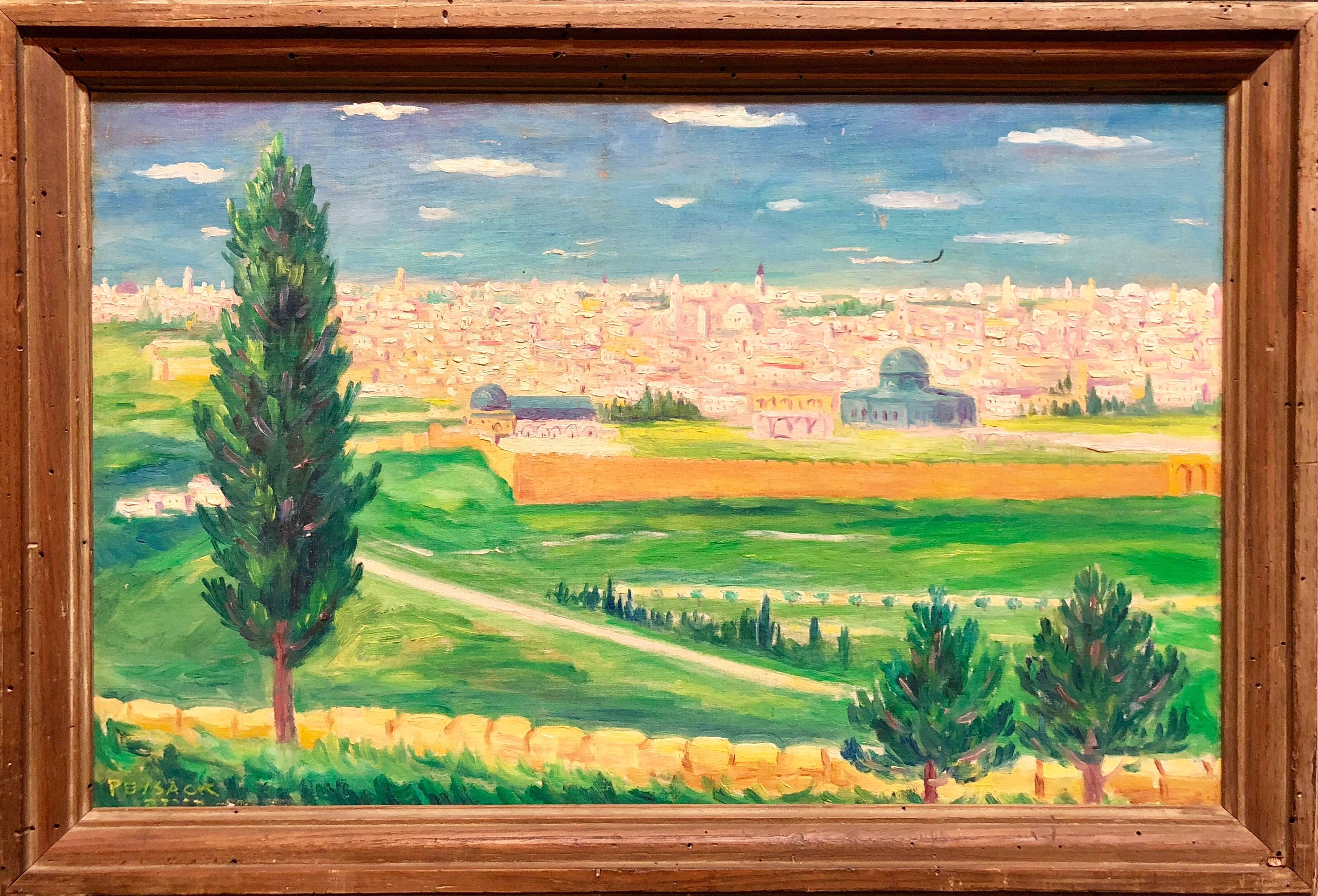 Arye Leo Peysack - German Israeli Oil Painting Jerusalem Panorama of ...