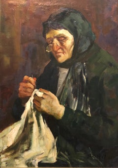 Israeli Judaica Old Jewish Woman Sewing Expressionist Oil Painting