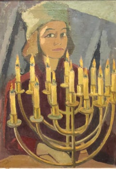 "1950's Expressionist Judaica Painting ""I Lit All My Candles"" Hanukkah Menorah"