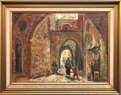 Jerusalem Old City Cityscape Israeli Modernist Oil Painting Signed in Hebrew