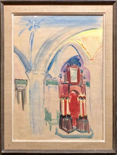 Israeli Modernist Watercolor Painting Safed Synagogue Interior Bezalel School