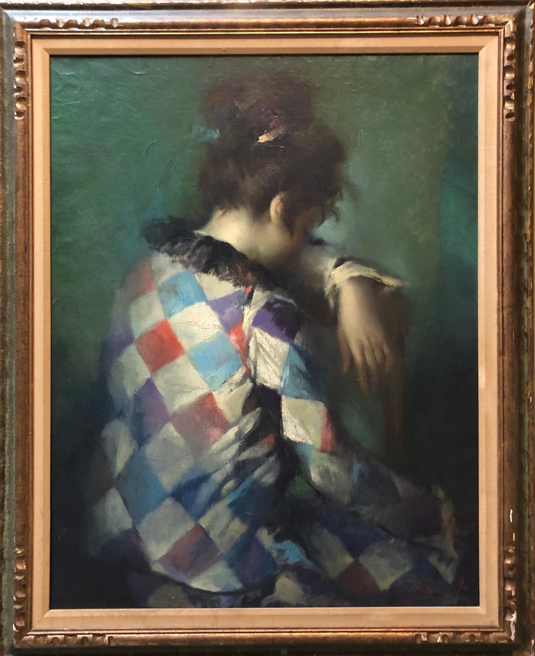 Young Woman Harlequin, Circus Performer Modern French Oil Painting
