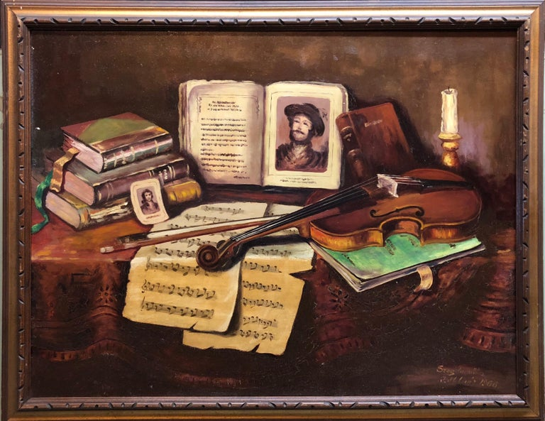 Hungarian Still Life Tableaux With Violin and Music Notes Oil Painting