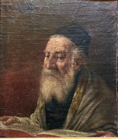 Pre World War II Austrian Judaica Oil Painting Hasidic Rabbi Portrait