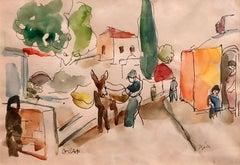 Old Yishuv, Israel, Watercolor Painting Israeli Modernist Kibbutz Artist
