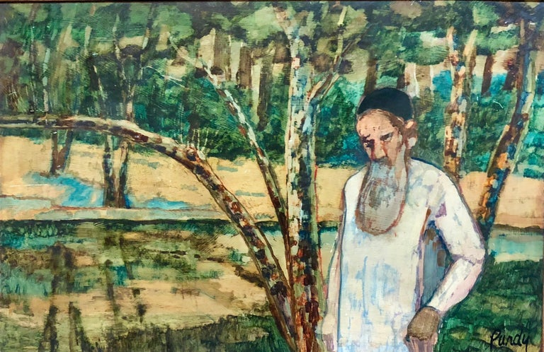 Judaica Meditative Rabbi at Prayer in Nature, Large Landscape Oil Painting