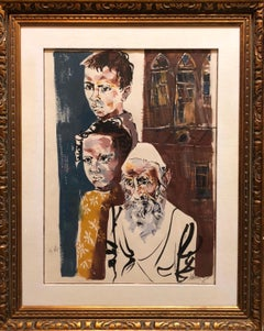 Large Watercolor Painting Israeli Modernist Judaica Rabbi with Children, Bezalel