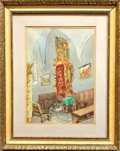 Israeli Modernist Safed Synagogue Interior Folk Art Watercolor Painting