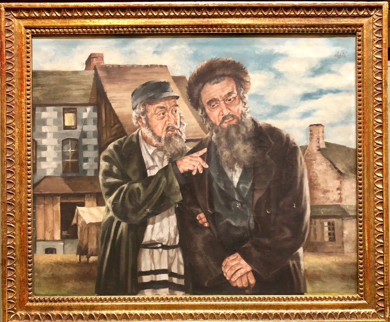 Polish Judaica Portrait of Hasidic Rabbis Shtetl Oil Painting