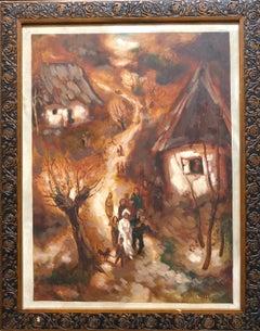 Romanian Folk Art Oil Painting Traditional Wedding Naive Primitive Transylvania