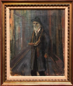 Judaica Oil Painting 1945 Palestine Old Jewish Man Polish Israeli Artist