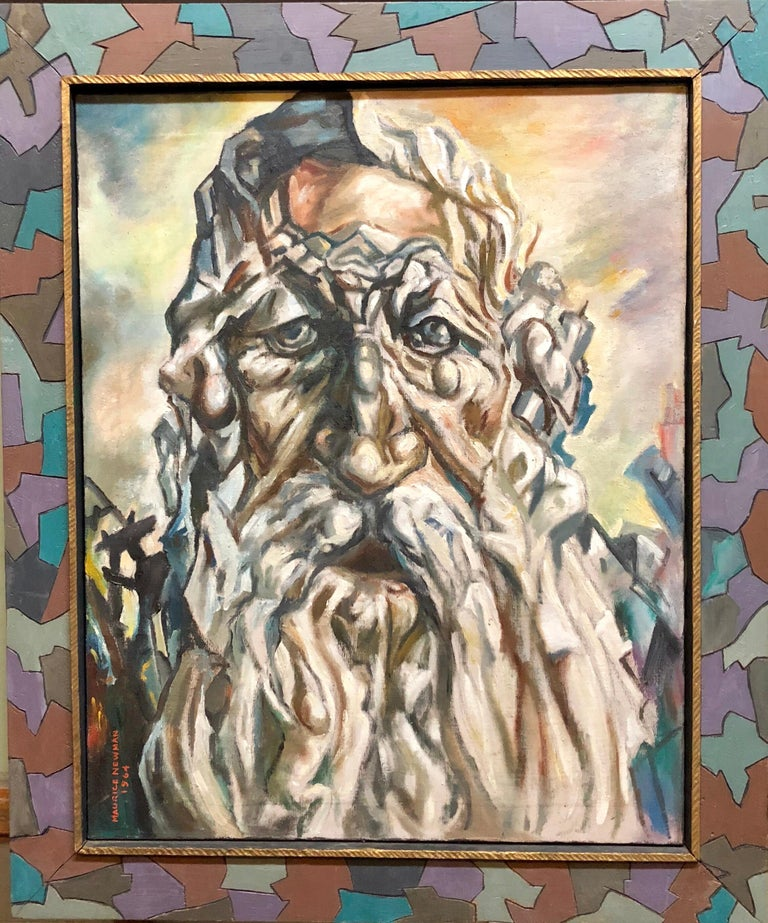 Holocaust Memorial Oil Painting Judaica Rabbi Composed of Figures Artists Frame