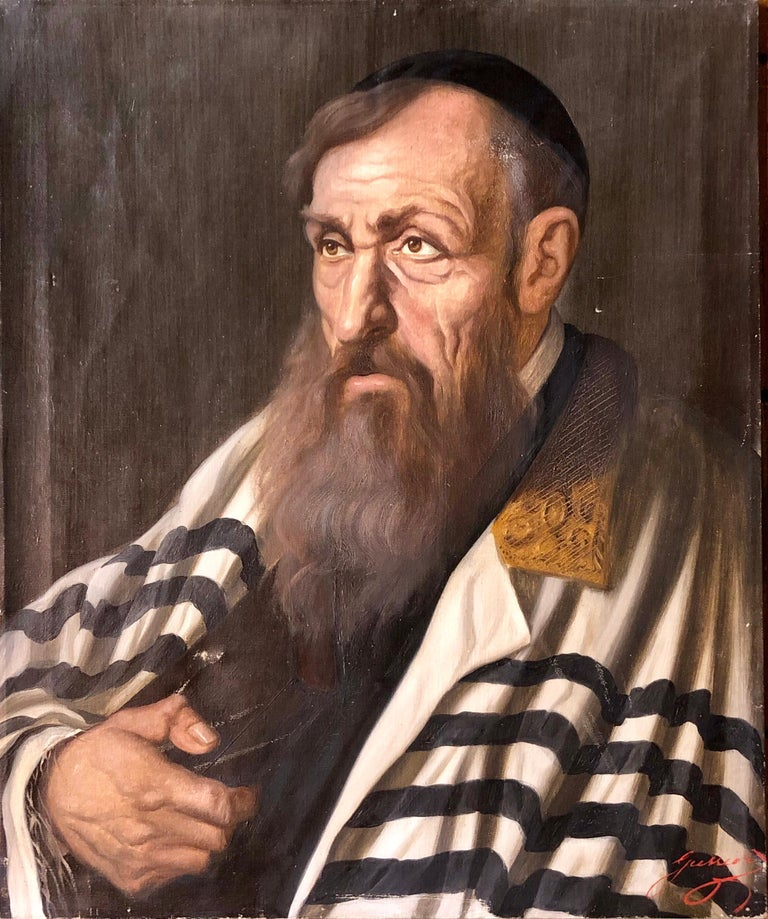 Unknown Portrait Painting - Polish Judaica Portrait of Hasidic Rabbi with Tallit Synagogue Oil Painting