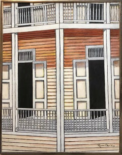 Guatemalan Latin American Oil Painting Modernist Porch Scene