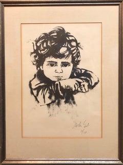 Lithograph Israeli Modernist Judaica, Kibbutz Boy, Bezalel Artist