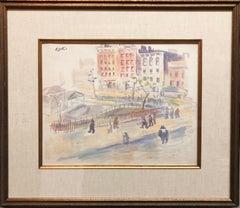 WPA New York Artist Watercolor Painting Manhattan Park Scene