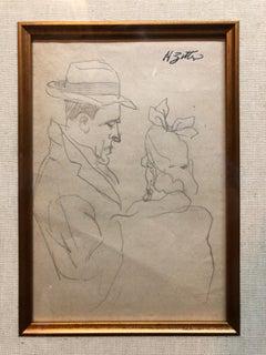 WPA New York Artist Pencil Drawing Manhattan Couple C.1940s