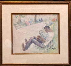 WPA New York Artist Watercolor Painting African American Man Park Bench Scene