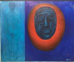 "Modernist Mod California Large Bold Painting Nude Figure ""Memories"" Laguna Beach"