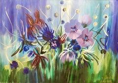 Israeli Large Vibrant Surrealist Flowers Oil Painting