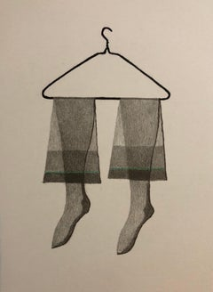 Untitled Still Life Hanging Tights in Green, Figurative Poetry Lithograph