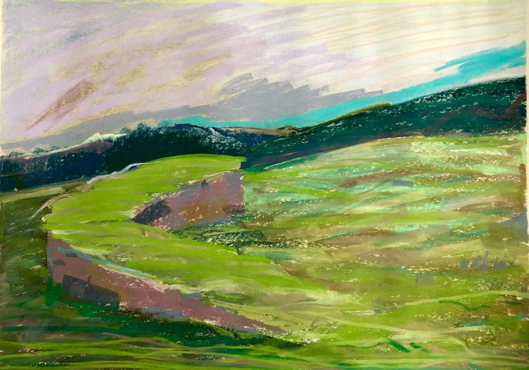 Large Abstract Landscape Pastel Drawing Painting San Francisco Artist, Megan #10