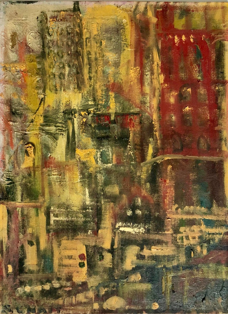 Abstract Cityscape 1960 Oil Painting Signed Chait Expressionist NYC City Scene