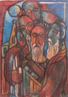 Modernist Judaica Oil Painting Blessing the New Moon, Jewish Prayer