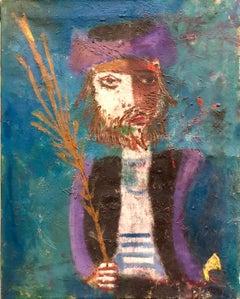 Modernist Judaica Oil Painting Hassid with Lulav, Etrog on Sukkot Jewish Prayer
