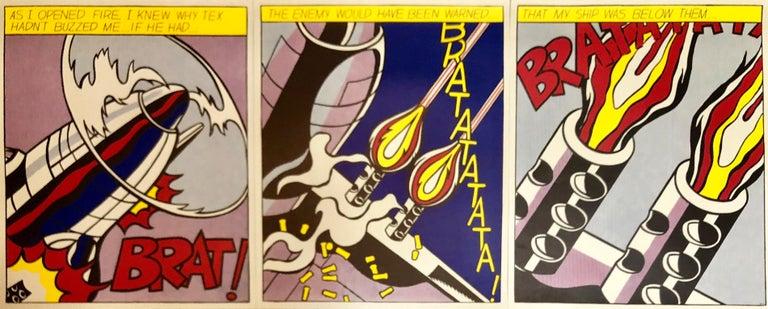 Vintage Offset Lithograph Triptych Roy Lichtenstein Pop Art Stedelijk Print