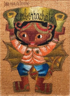 "Folk Art Mexican Girl ""Emborrachate"" Oil Painting on Burlap"