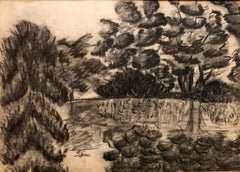 Modern Polish Jewish Pencil Drawing Modernist Landscape
