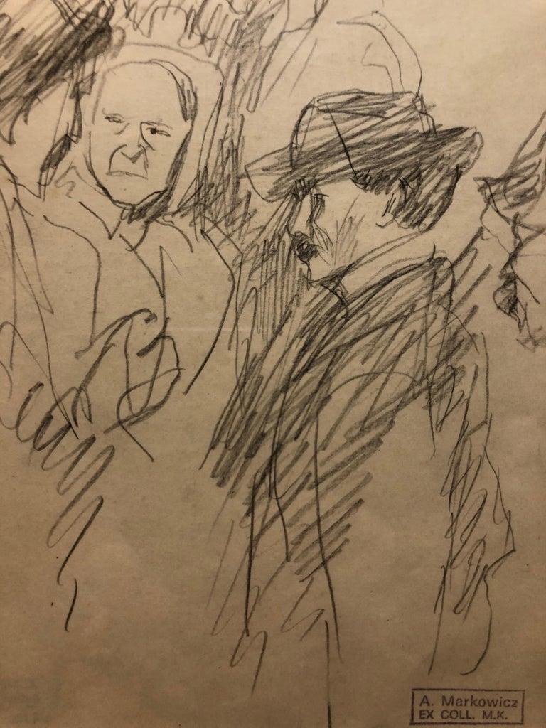 Artur markowicz figurative art framed sketch pencil drawing of couple in city scene pre war