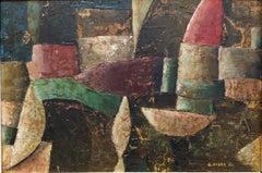 1960s Italian Futurist Abstract Oil Painting