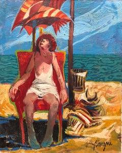 Woman in Chair Beach Scene Italian Modernist Oil Painting