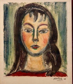 Czech Modernist Monotype Oil Painting Portrait of a Girl