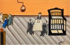 """Israeli Judaica Shtetl """"The Lesson"""" Rabbi Studying Scene Naive Art Oil Painting"""