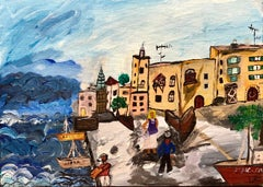 Israeli Modernist Tel Aviv Jaffa Port Folk Art Fisherman with Boat Oil Painting