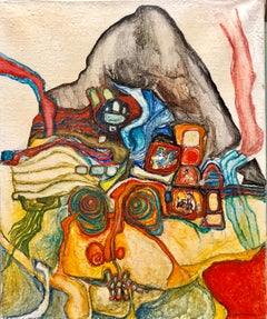 French Jewish Post Holocaust Abstract Painting Manner of Hundertwasser Art Brut