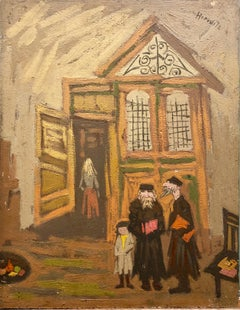 Judaica Oil Painting Jewish Family Interior Shtetl Scene