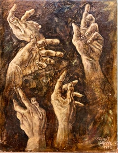 1950s Academic Realistic Study of Hands Oil Painting Signed Stuart Whyte